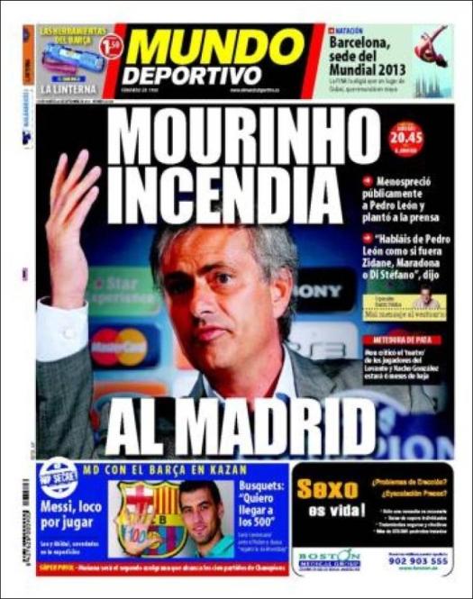 """Portada Mundo Deportivo 28.09.10: """"Mourinho incendia al Madrid"""""""