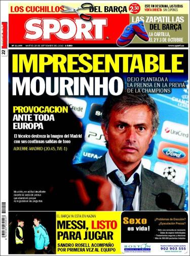 """Portada Sport 28.09.10: """"Impresentable Mourinho"""""""