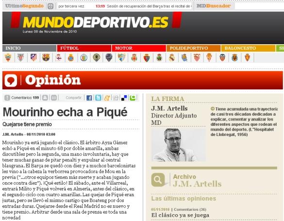 """Mundo Deportivo: """"Mourinho echa a Piqué"""""""