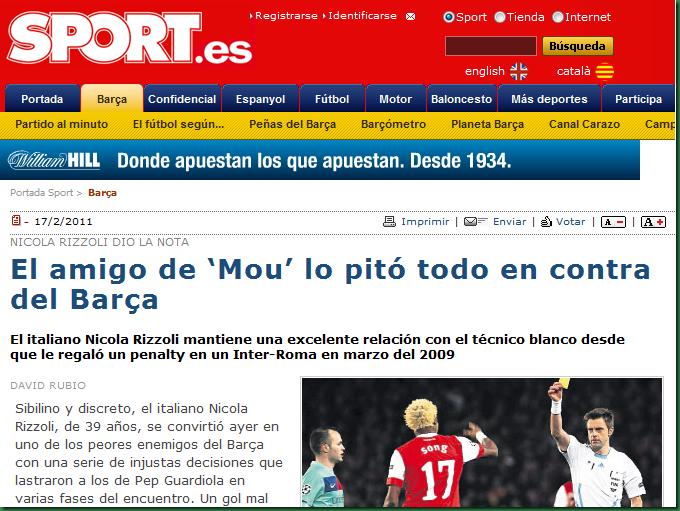 Mourinho culpable derrota Barcelona