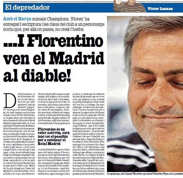 """Diario Gol: """"Florentino vende el Madrid al diablo"""""""