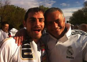 Celebración Liga de Mourinho y Casillas