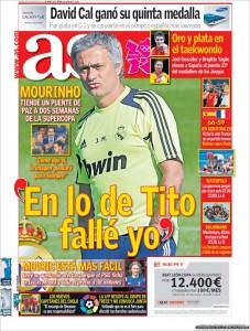 Diario As: Mourinho pide perdón a Tito Vilanova