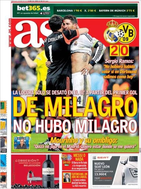 Portada.AS.eliminación.Madrid.adios.Mou