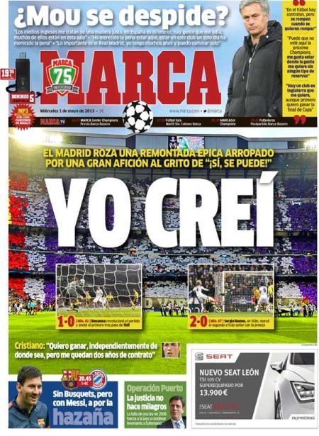Portada MARCA eliminación Real Madrid marcha Mourinho